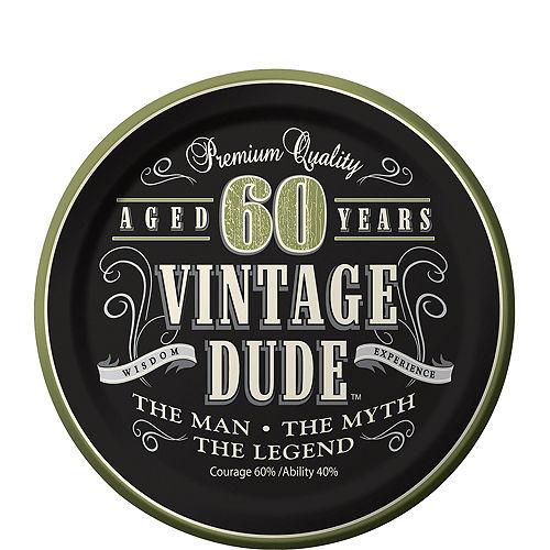 Vintage Dude 60th Birthday Dessert Plates 8ct Image #1