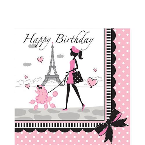 Pink Paris Birthday Lunch Napkins 16ct Image #1