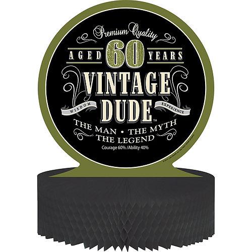 Vintage Dude 60th Birthday Honeycomb Centerpiece Image #1
