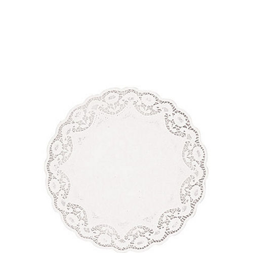 White Round Paper Doilies 28ct Image #1
