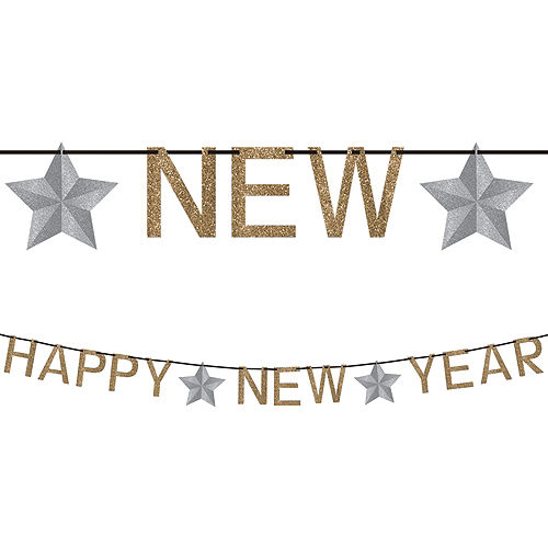 Glitter Gold Happy New Year Letter Banner Image #1