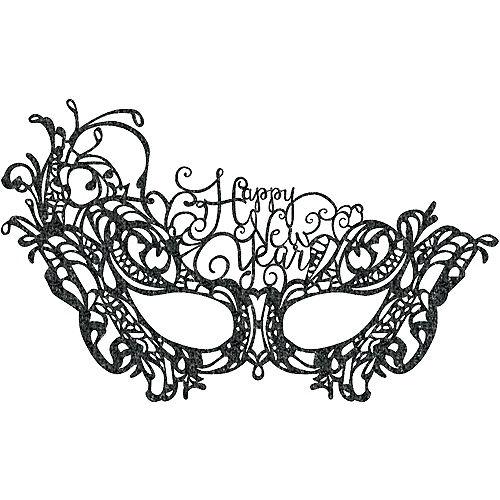 Black Lace Happy New Year Masquerade Mask Image #1