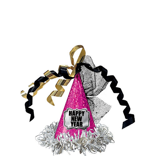 Clip-On Prismatic Pink Happy New Year Mini Party Hat Image #2