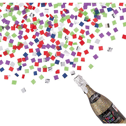 Colorful Happy New Year Bottle Confetti Popper Image #1