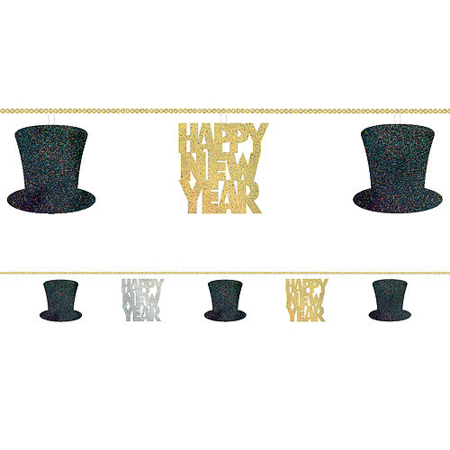 Black, Gold & Silver Happy New Year String Garland Image #1