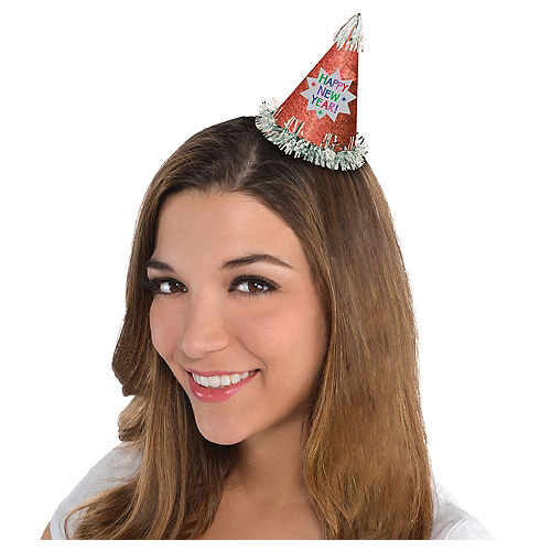 Glitter Red Happy New Year Mini Party Hat Image #1