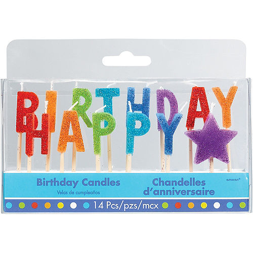 Glitter Multicolor Happy Birthday Toothpick Candle Set 14pc Image #1