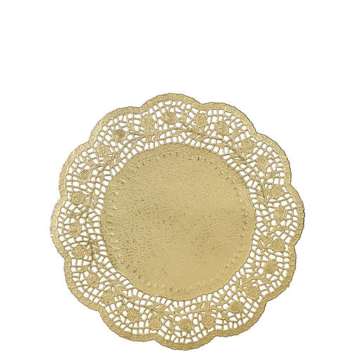 Gold Round Paper Doilies 6ct Image #1
