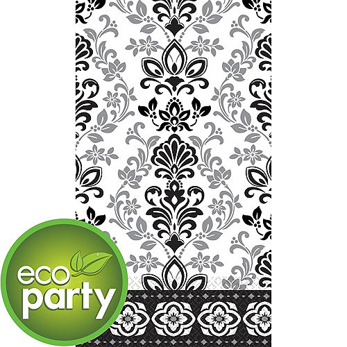 Eco-Friendly Black & Silver Ornate Damask Guest Towels 16ct Image #1