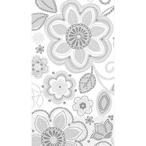 Silver Flower Embroidery Guest Towels 16ct Image #1