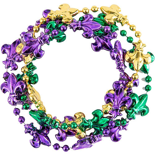 Fleur-de-Lis Mardi Gras Bead Bracelets 4ct Image #1