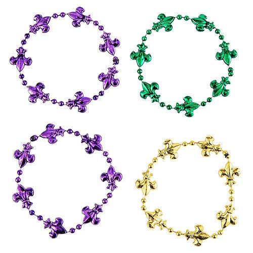 Fleur-de-Lis Mardi Gras Bead Bracelets 4ct Image #2