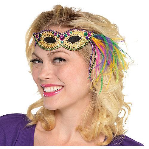 Feather Mardi Gras Mask Headband Image #1