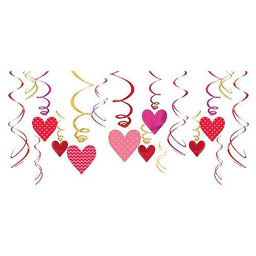 Dot & Chevron Heart Swirl Decorations 12ct Image #1