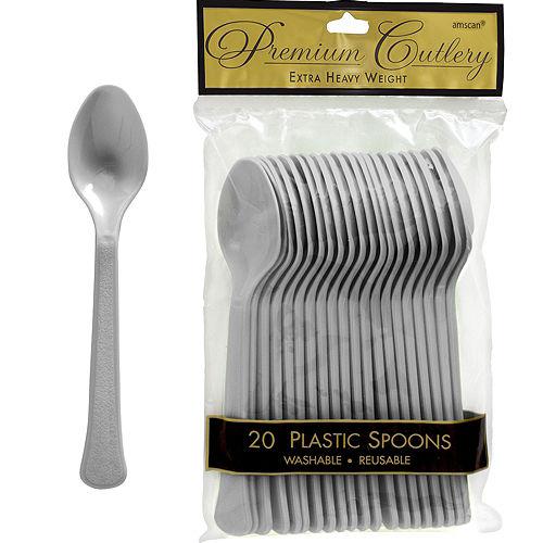 Silver Premium Plastic Spoons 20ct Image #1