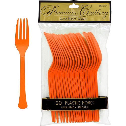 Orange Premium Plastic Forks 20ct Image #1