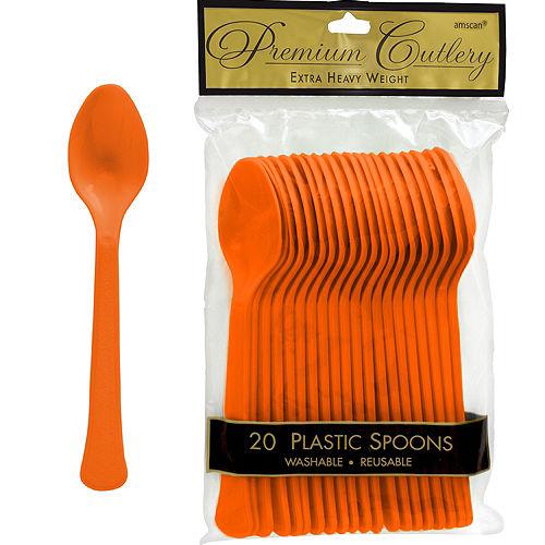 Orange Premium Plastic Spoons 20ct Image #1