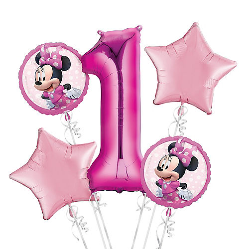 Minnie Mouse 1st Birthday Balloon Bouquet 5pc Image #1