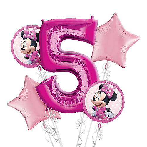 Minnie Mouse 5th Birthday Balloon Bouquet 5pc Image #1