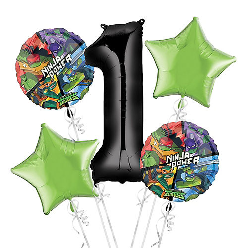 Teenage Mutant Ninja Turtles 1st Birthday Balloon Bouquet 5pc Image #1