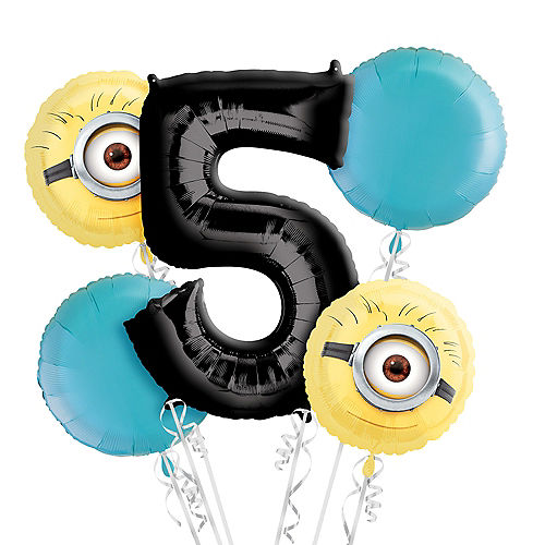 Despicable Me 5th Birthday Balloon Bouquet 5pc Image #1
