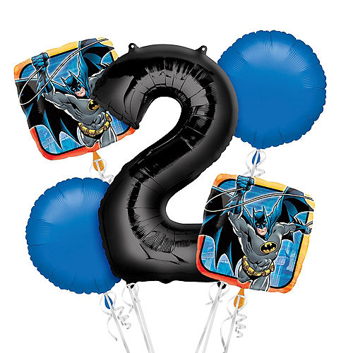 Batman 2nd Birthday Balloon Bouquet 5pc Image #1