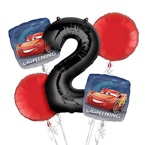 Cars 2nd Birthday Balloon Bouquet 5pc Image #1