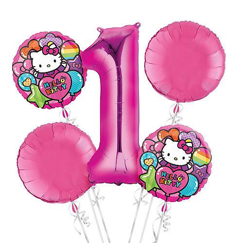 Rainbow Hello Kitty 1st Birthday Balloon Bouquet 5pc Image #1