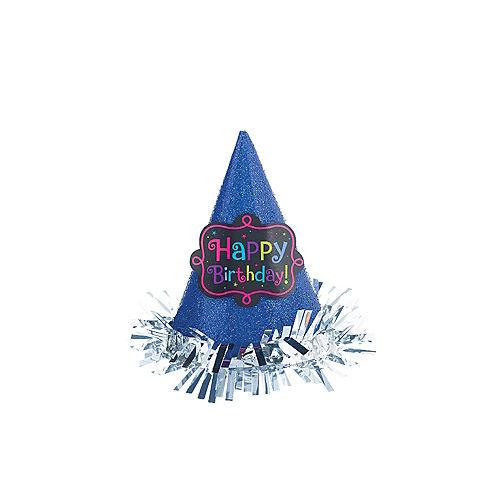 Blue Glitter Happy Birthday Mini Party Hat Image #2
