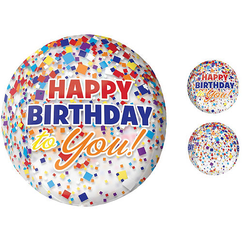 Rainbow-fetti Happy Birthday Balloon - See Thru Orbz Image #1
