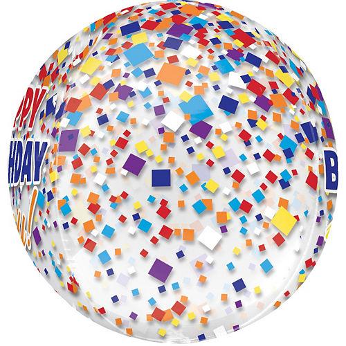 Rainbow-fetti Happy Birthday Balloon - See Thru Orbz Image #2