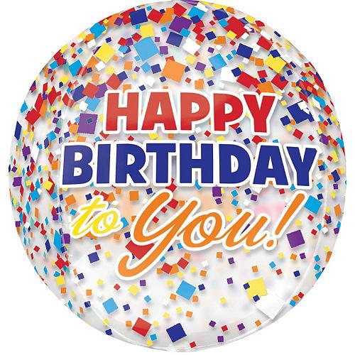 Rainbow-fetti Happy Birthday Balloon - See Thru Orbz Image #3