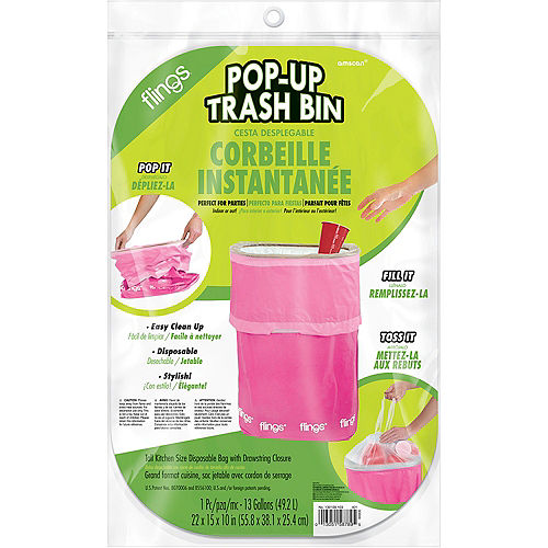 Bright Pink Pop-Up Trash Bin Image #2