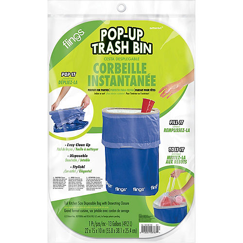 Royal Blue Pop-Up Trash Bin Image #2