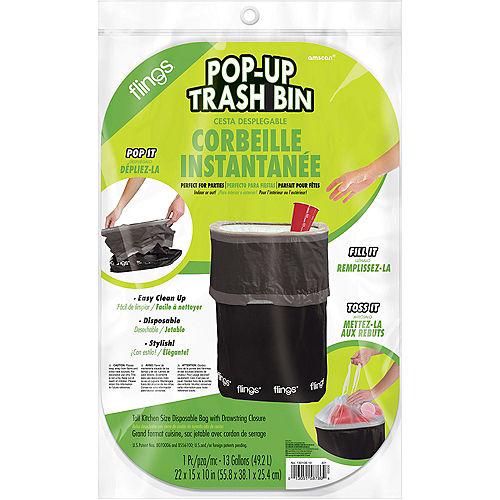 Black Pop-Up Trash Bin Image #2