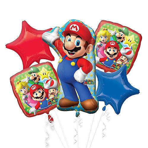 Super Mario Balloon Bouquet 5pc - Giant Image #1