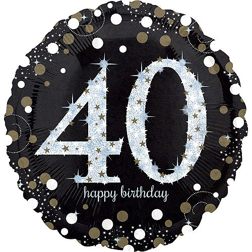 40th Birthday Balloon 18in -Sparkling Celebration, 18in Image #1