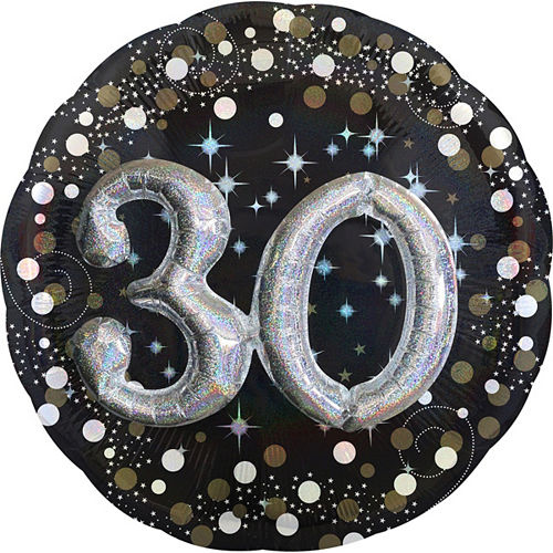 30th Birthday Balloon 32in - 3D Sparkling Celebration Image #1
