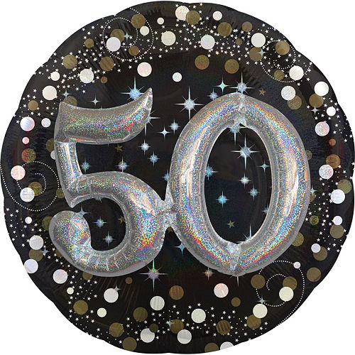 50th Birthday Balloon 32in - 3D Sparkling Celebration, 32in Image #1