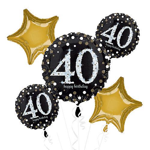 40th Birthday Balloon Bouquet 5pc - Sparkling Celebration Image #1
