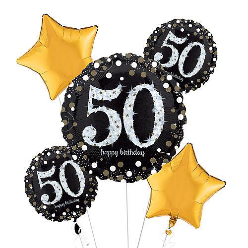 50th Birthday Balloon Bouquet 5pc - Sparkling Celebration Image #1
