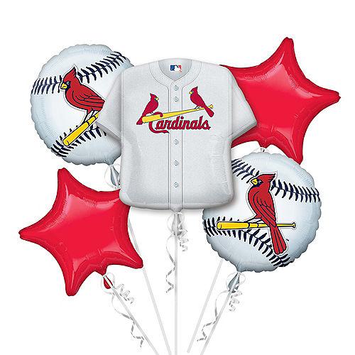 St. Louis Cardinals Balloon Bouquet 5pc - Jersey Image #1