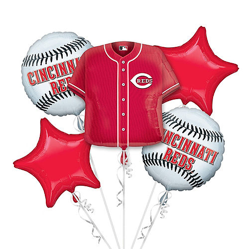 Cincinnati Reds Balloon Bouquet 5pc - Jersey Image #1