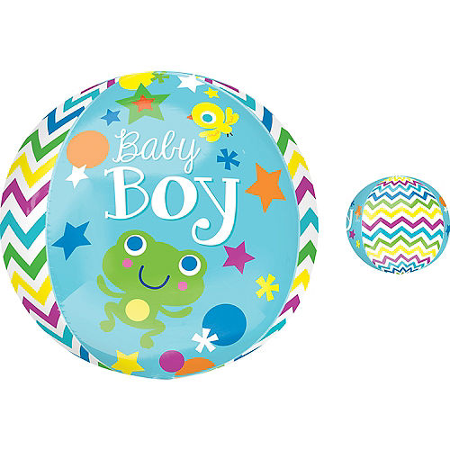 Baby Shower Balloon - Orbz Chevron Sweet Baby Boy, 16in Image #1