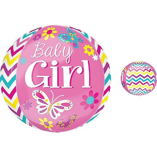 Baby Shower Balloon - Orbz Chevron Beautiful Baby Girl, 16in Image #1
