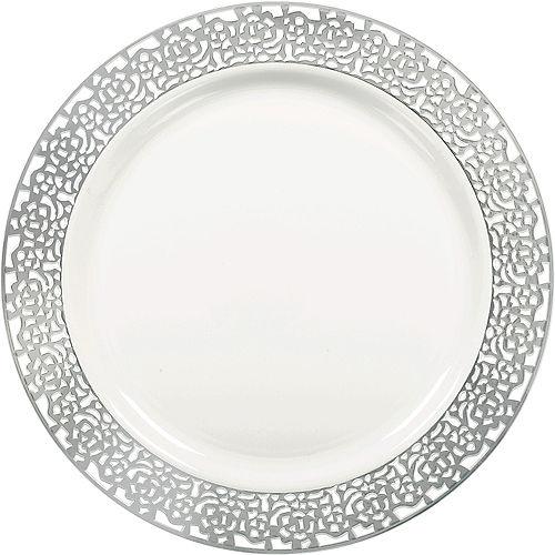 White Silver Lace Border Premium Plastic Dinner Plates 10ct Image #1