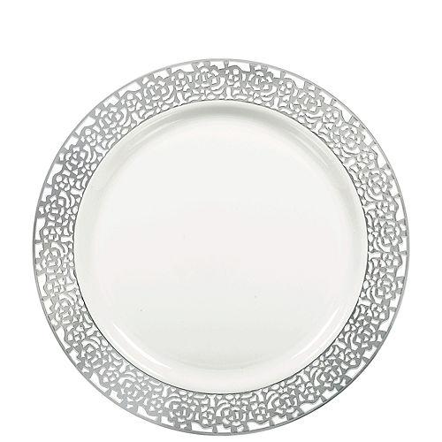 White Silver Lace Border Premium Plastic Lunch Plates 20ct Image #1