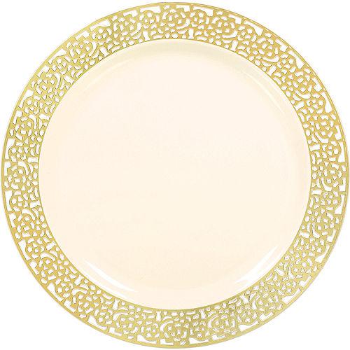 Cream Gold Lace Border Premium Plastic Dinner Plates 10ct Image #1