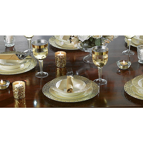 Cream Gold Lace Border Premium Plastic Lunch Plates 20ct Image #2