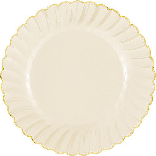 Cream Gold-Trimmed Premium Plastic Scalloped Dinner Plates 10ct Image #1